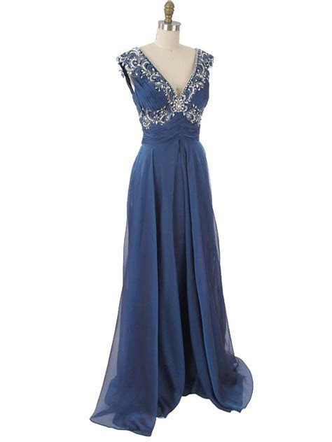Beaded Iridescent Blue Chiffon Evening Gown Vintage Style