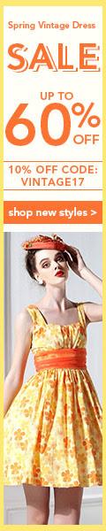 Spring Vintage Dresses Sale: Up to 60% OFF + Extra 10% OFF Coupon: VINTAGE17.