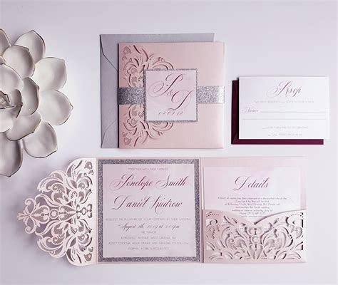Blush wedding Invitation, Romantic Laser cut pocket fold