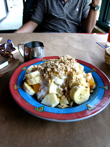 coffee care fruit yoghurt and granola
