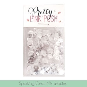 Pretty Pink Posh SPARKLING CLEAR MIX Cupped Sequins PPP120
