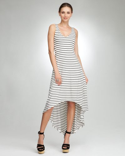 Bebe Striped Hi Low Maxi Dress White-Black Size Medium