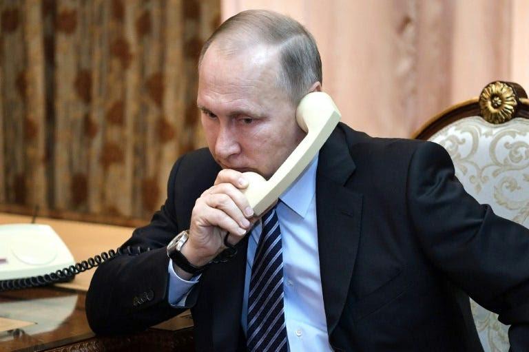 US President Donald Trump will speak with Russian counterpart Vladimir Putin (pictured) by telephone on May 2, 2017, according to the White House