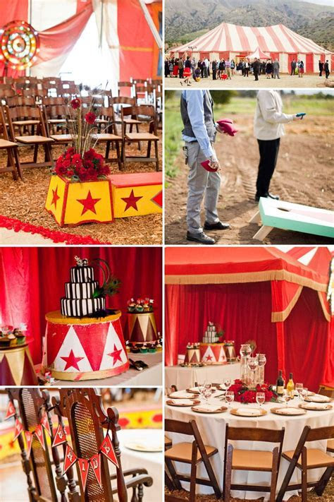 ventura county vintage wedding circus tent with tables and