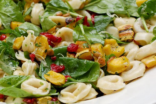 Roasted Delicata Squash & Tortellini Salad With Spinach, Cranberries & Pepitas by Eve Fox, Garden of Eating blog, copyright 2011