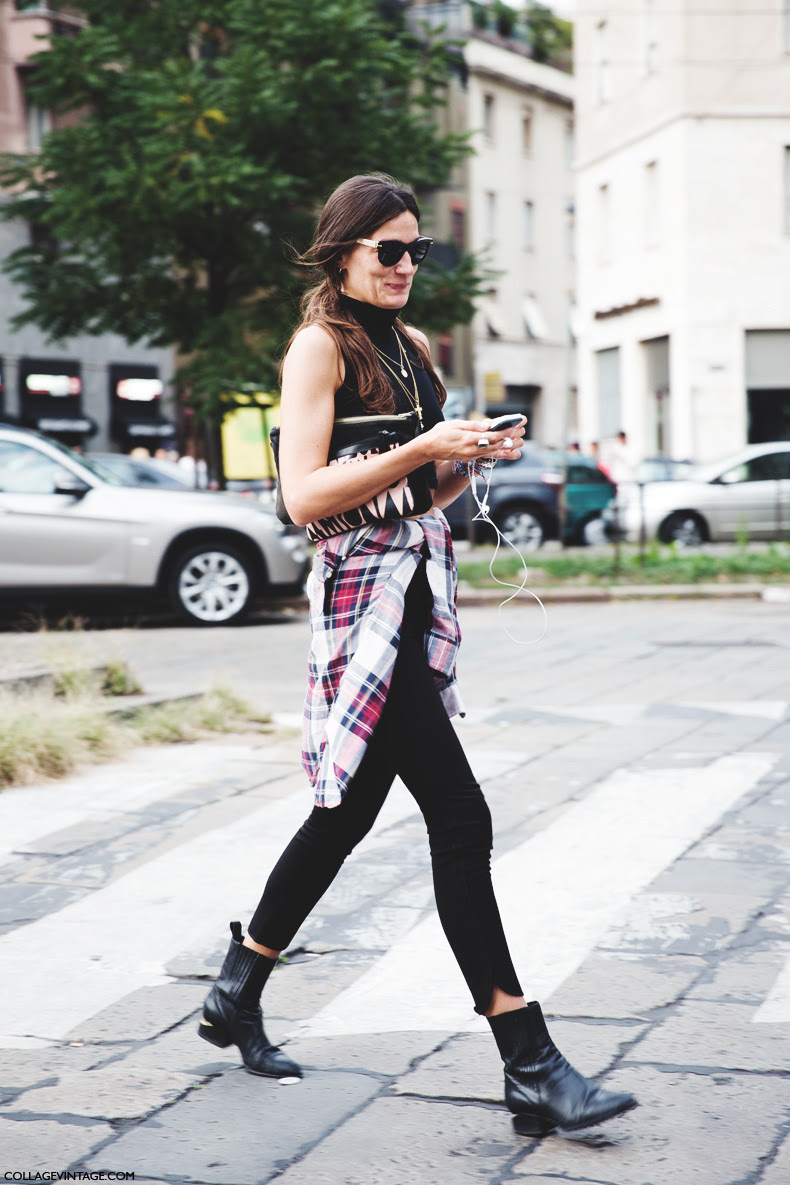 New_York_Fashion_Week_Spring_Summer_15-NYFW-Street_Style-Alexander_Wang_boots-Cropped_Top-Tartan_Shirt-