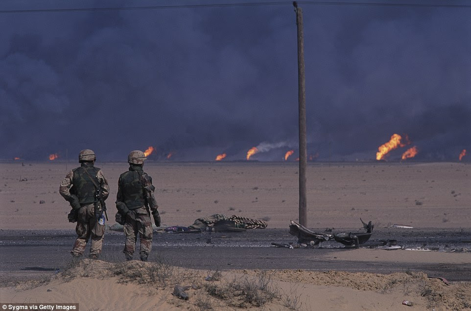 The images have already been compared to the tactics used in the 1991 Gulf War, when Saddam took his troops out of Kuwait with defeat in sight