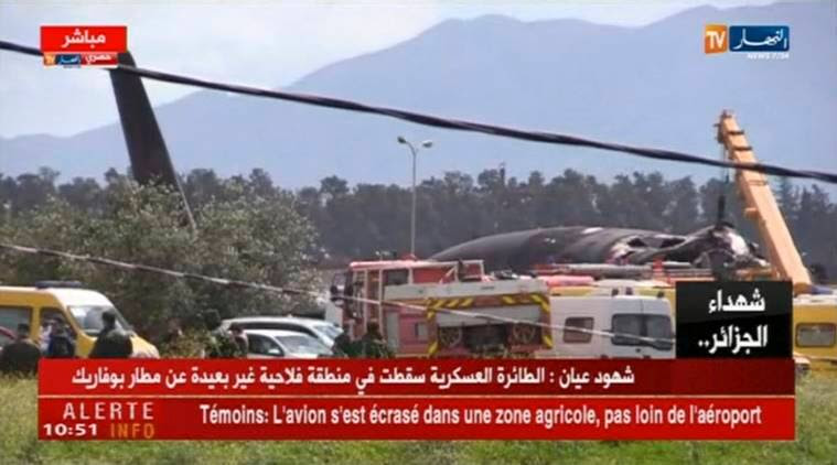 Image result for Military plane with 100 on board crashes in Algeria