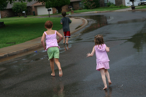 running in the puddles