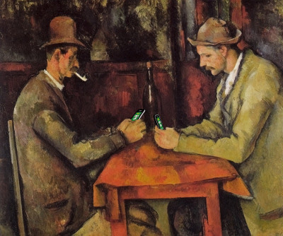 """De los jugadores de cartas 'después de los jugadores de cartas """"de Paul Cézanne, 1894-1895"""
