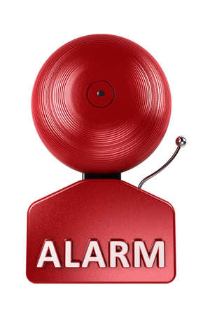 Front view of a red fire alarm bell over white background Stock Photo - 10212773