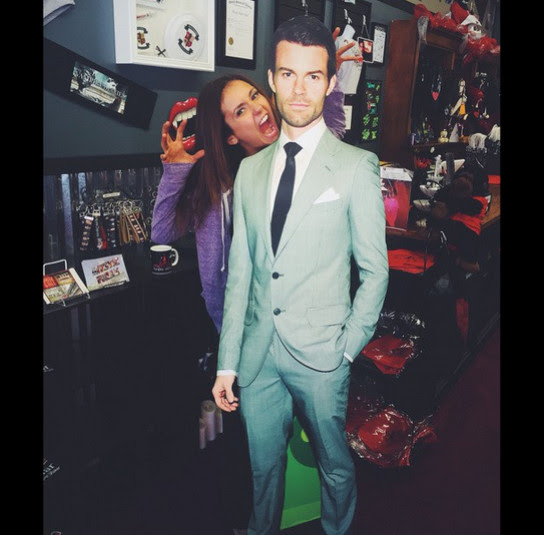 Nina Dobrev got silly with a cardboard cutout of David Gillies.
