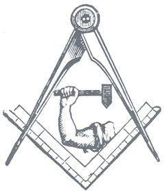 """Na Maçonaria, o símbolo do braço e martelo representa braço e martelo representa o Mason como o Builder, como """"homem no trabalho"""", criando os céus ea terra.  Assim, o homem torna-se Deus."""