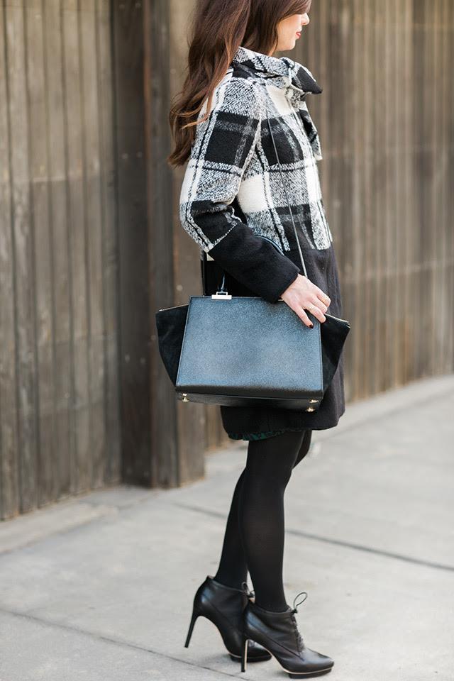 black and white plaid coat with henri bendel bag M Loves M