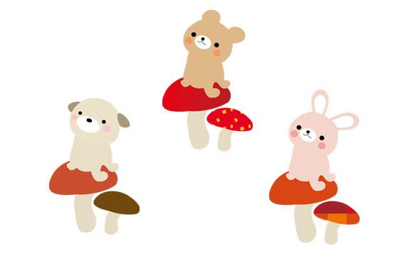 きのこの上に座った動物達を描いた可愛いイラストセットクマやネコに
