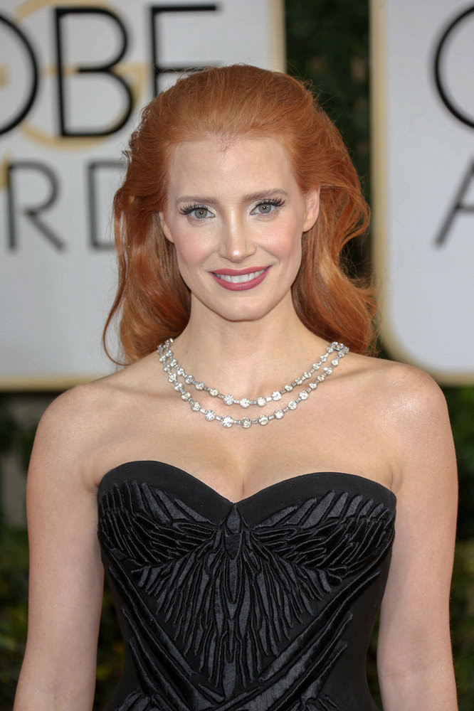 Jessica Chastain Long Glamorous Waves Hairstyle