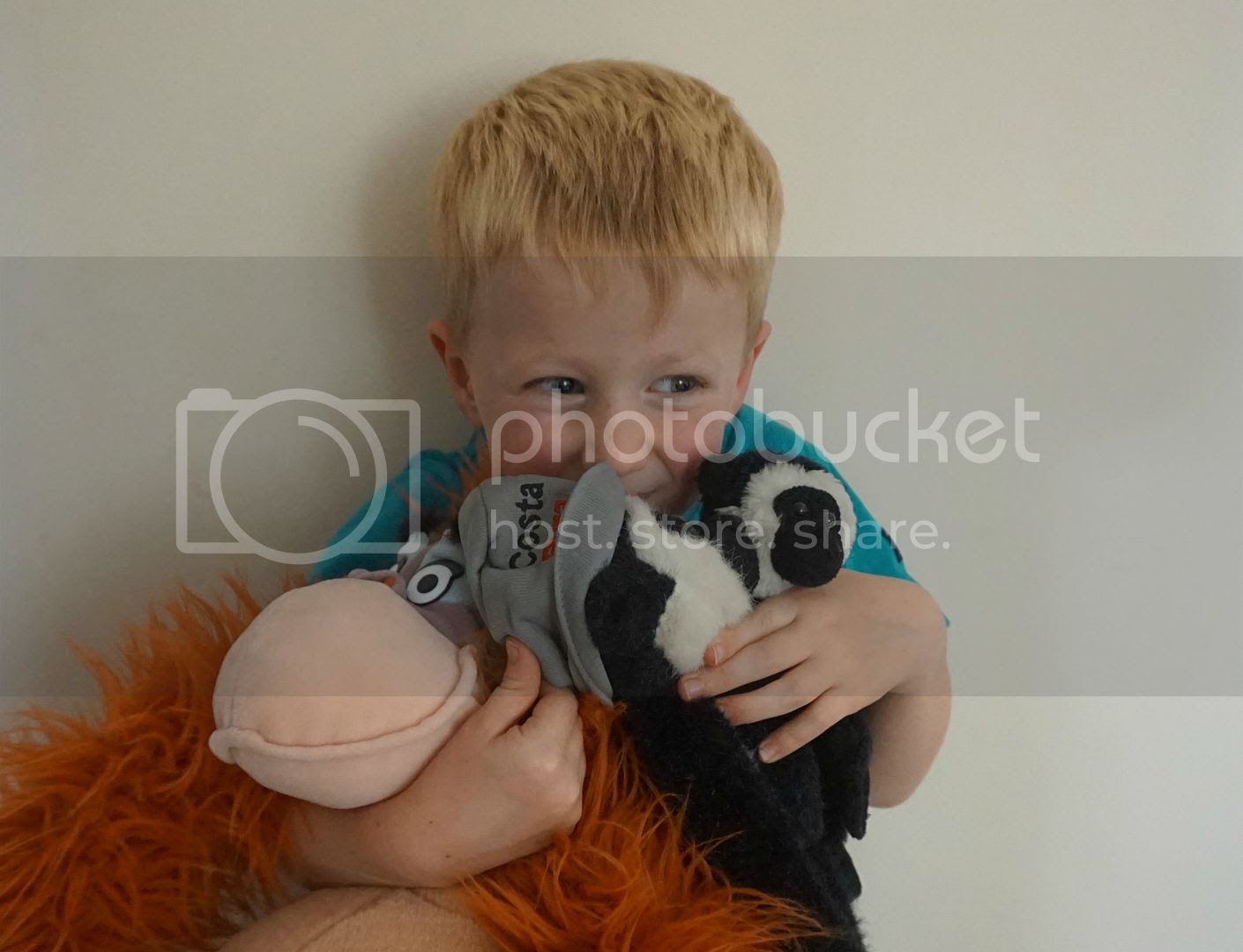 boy with soft toy monkey