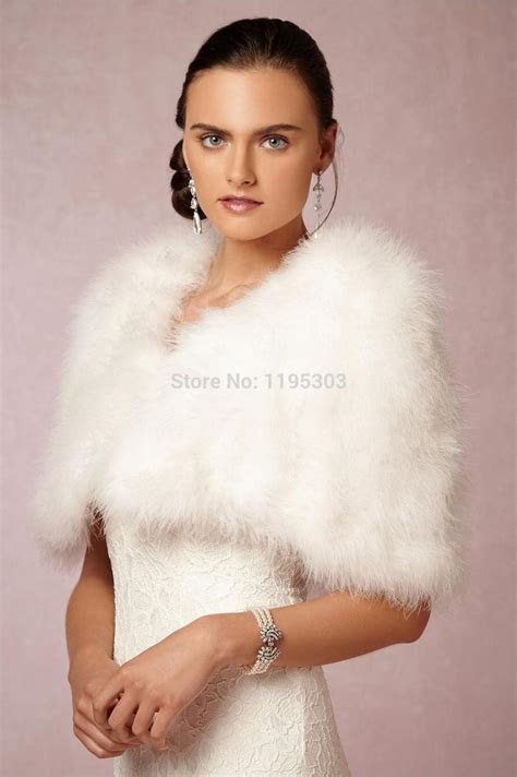Women Winter Jackets White Ivory Faux Fur Ostrich Feather