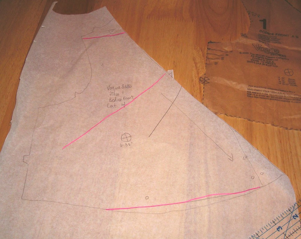 Traced front bodice with edit marks
