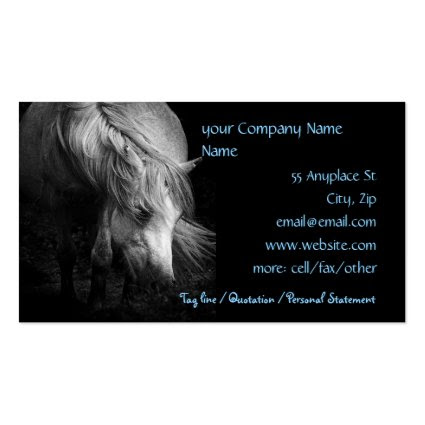 Fine Art Pony Head and Mane business cards tempate