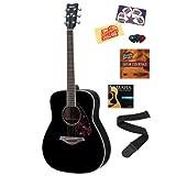 Yamaha FG720S Black Acoustic Guitar Bundle with Yamaha Starter DVD, Picks, Strap, Strings, Pick Card, and Polishing...