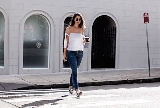 Le Fashion Blog Off Shoulder White Top Skinny Jeans Converse Via Harper And Harley