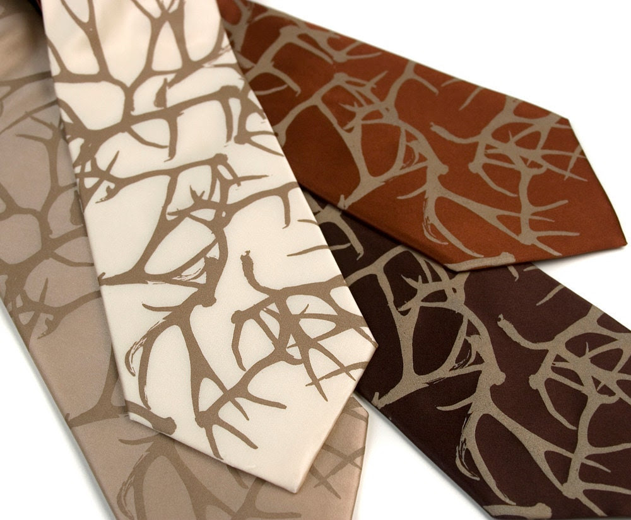 "Men's silk necktie. ""Stag Party."" Silkscreen deer antler pattern tie. Tan print. Handprinted by Cyberoptix / Toybreaker"