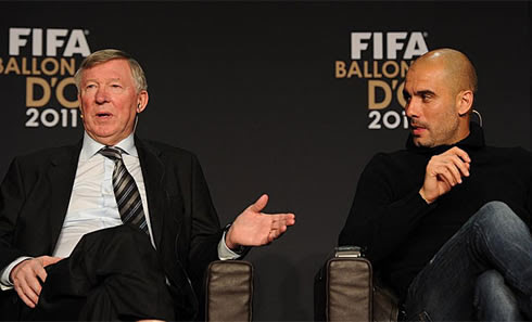Sir Alex Ferguson talking with Pep Guardiola at FIFA Balon d'Or 2011 gala