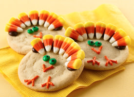 Turkey Cookies with Candy Corn