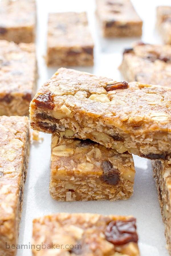 No Bake Oatmeal Raisin Granola Bars (Vegan, Gluten Free ...