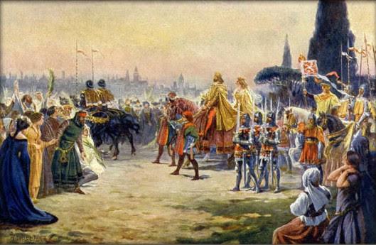 Adolf Liebscher - Karel IV. s Annou Svídnickou vjíždí roku 1355 do Říma.jpg