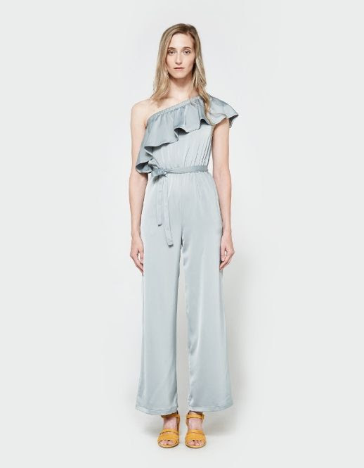 Le Fashion Blog Under $100 Farrow Camino Sage Off The Shoulder Ruffled Jumpsuit Via Need Supply