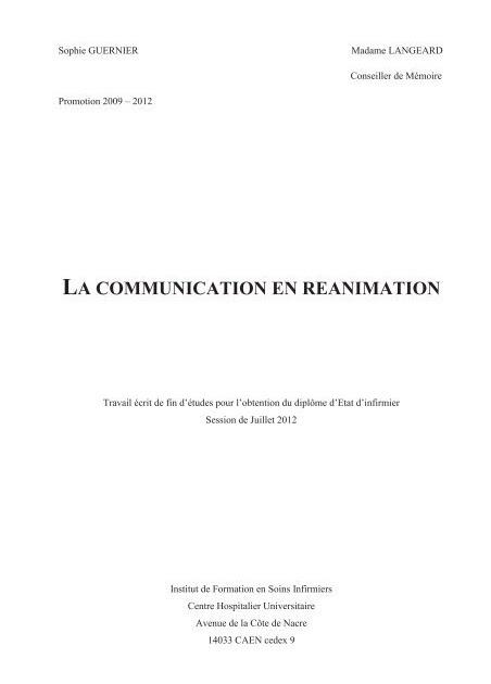 Exemple Memoire De Fin D étude Infirmier - Le Meilleur Exemple