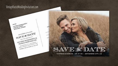 Save the Date Cards   Vintage Rustic Wedding Invitations