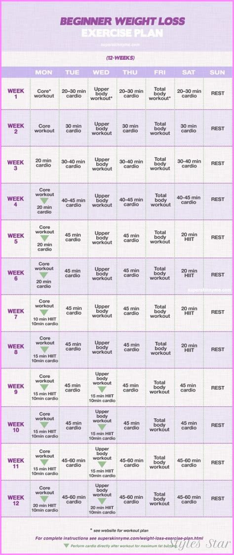 beginners exercise plan  weight loss star styles
