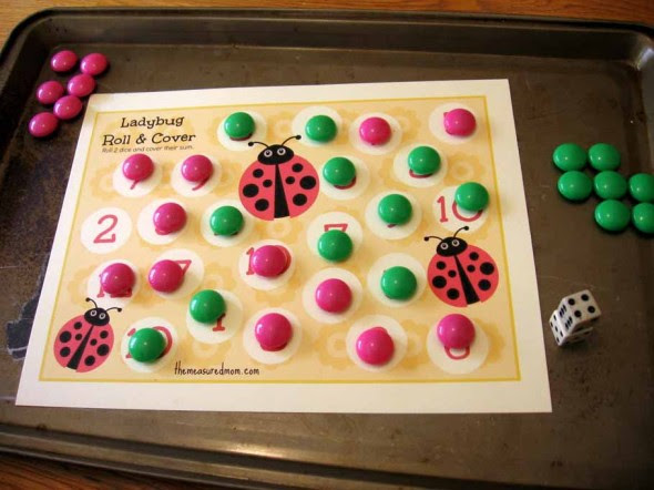 printable addition game 3 ladybug roll cover the measured mom006 590x442 Printable Addition Game: Ladybug Roll & Cover