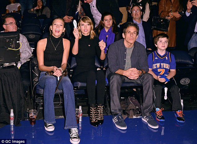 Star studded: Also there to watch the Knicks go down to the Bulls 104 to 80, was Ben Stiller who was seated next to Taylor Swift and her best buddy model Karlie Kloss