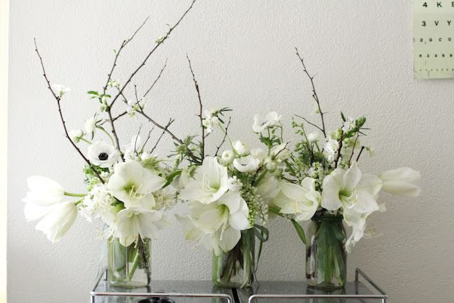 White, branches and amarylis