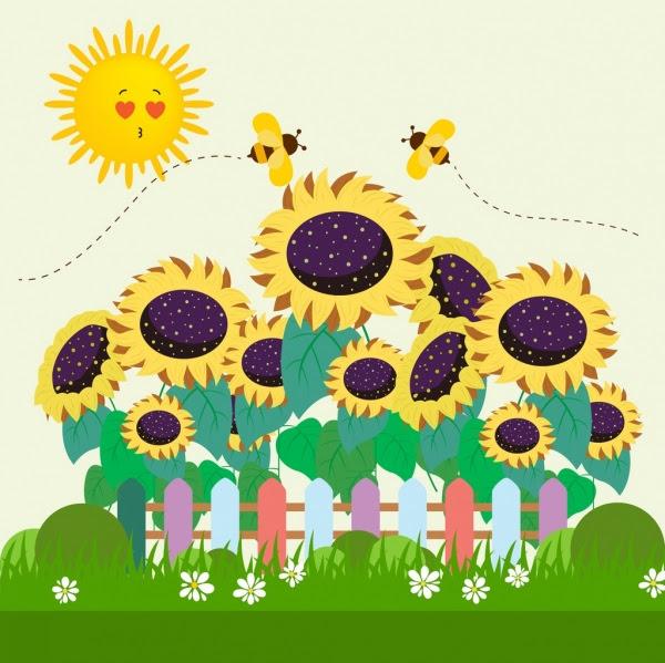 Menggambar Alam Bergaya Matahari Lebah Madu Bunga Matahari Ikon