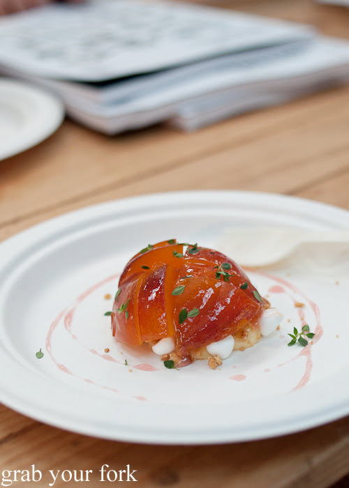 Compressed peach with lemon thyme curd by Federico Zanellato, Ormeggio at the Rootstock Sydney 2014 Night Festival