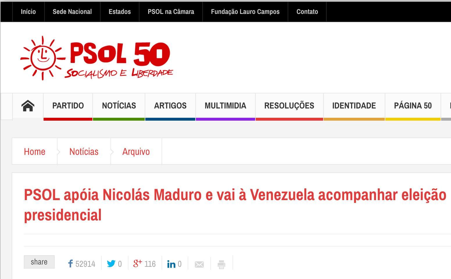 PSOL posta defesa de ditador Nicolás Maduro da Venezuela