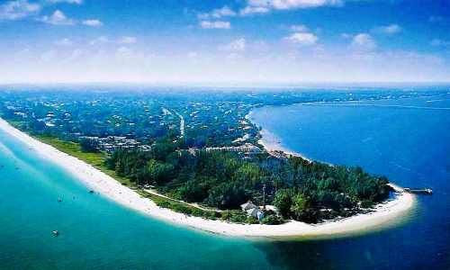 Aerial view of Sanibel Island on the Gulf of Mexico.