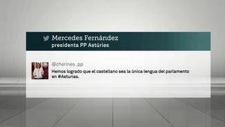 La piulada de la presidenta del Partit Popular a Astúries felicitant-se perquè el castellà és l'única llengua oficial al Parlament asturià