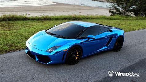 Lamborghini gallardo Wrap Vinyl chrome blue wallpaper