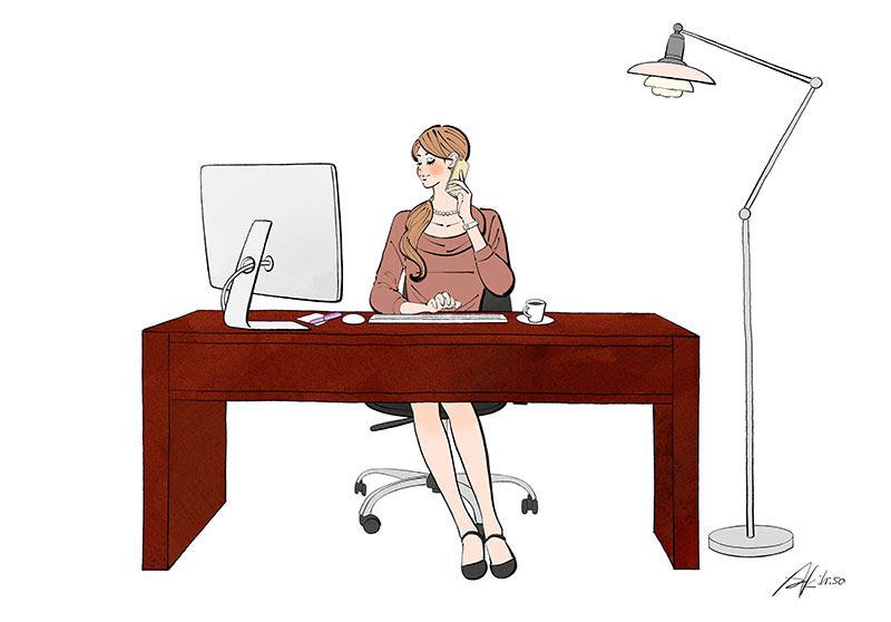 オフィスで働く女性恋するイラストレーションno506パソコンで仕事