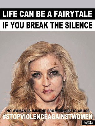 Palombo, who also features Madonna, left, and Gwen Stefani in his disfigured images, said:'Domestic violence is a social cancer that knows no boundaries nor social status, it can affect anyone, whether you're an ordinary person or a celebrity'