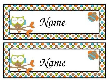 Owl Name Tags (Editable)   Name labels, Student and Names