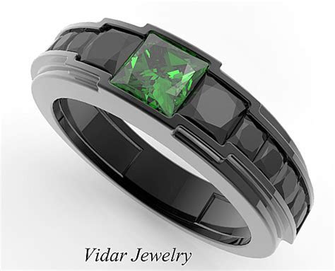 Men's Black Gold Emerald wedding Band   Vidar Jewelry