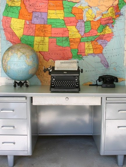 On Reserve for julie     large tanker metal steel desk with AWESOME formica top.  nice conditon