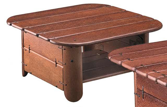 pacific green coconut palm coffee table